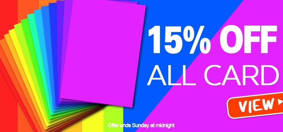 15% off all paper and card