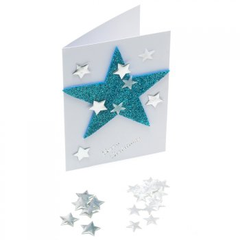 20mm Silver Fabric Star Toppers