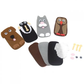 Felt Animal Finger Puppets - Dog 6 Pack