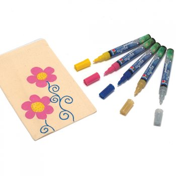 Marabu Blue Glitter Fabric Pen