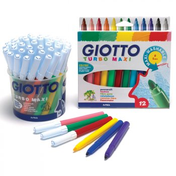 Giotto Turbo Maxi Broad Tip Pens - Pack of 12
