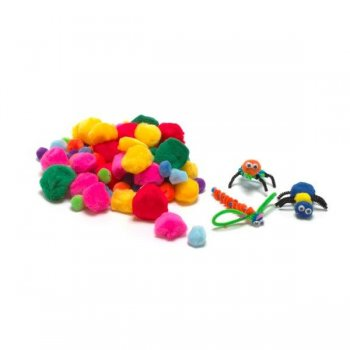 Coloured Mixed Pom Poms - Pack of 100
