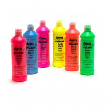 Yellow Fluorescent Ready Mixed Washable Paint - 600ml