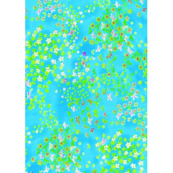 Decopatch Paper 499 -  Half Sheet - Turquoise Small Flowers
