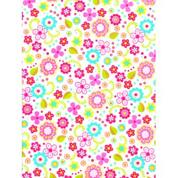 Decopatch Paper 433 - Half Sheet - Bright Coloured Small Flowers