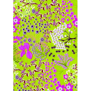 Decopatch Paper 515 - Half Sheet - Lime Green & Pink Flowers