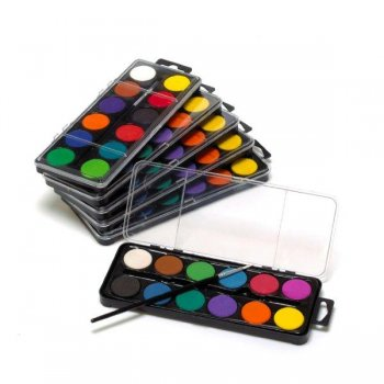 Watercolour Set with Brush - 16 Pack