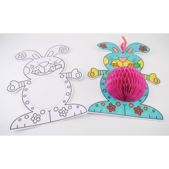 Honeycomb Rabbits | Colour Me In | Easter Crafts | Crafty Crocodiles
