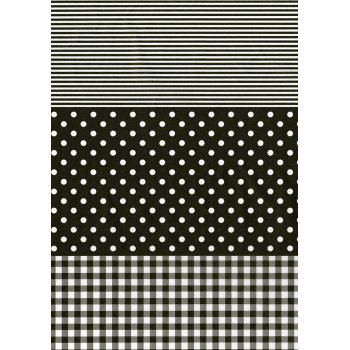 Decopatch Paper 485 - Full Sheet -  Black Stripe, Polka, Gingham