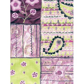 Decopatch Paper 412 - Half Sheet - Pink, Green & Purple Patchwork