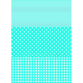 Decopatch Paper 549 - Full Sheet - Blue Stripe/Polka/Gingham