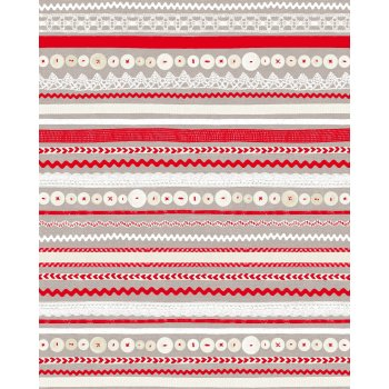 Decopatch Paper 575 - Half Sheet - Red, Neutral, Stripes & Circles