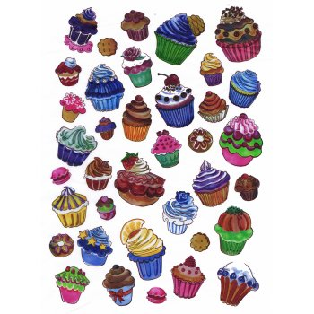 Decopatch Paper 561 - Half Sheet -  Coloured Cupcakes