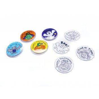 Halloween Colour in Badges - Pack of 4