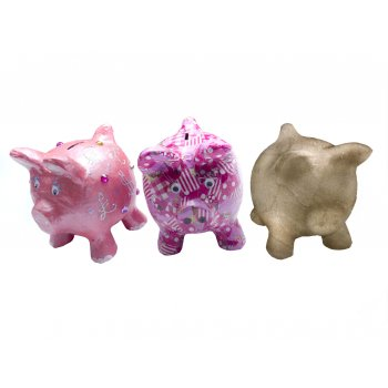 Paper Mache Piggy Coin Bank