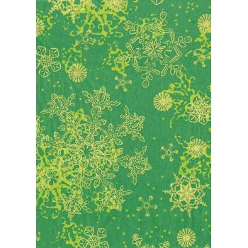 Decopatch Paper 483 - Half Sheet - Green and Gold snowflakes