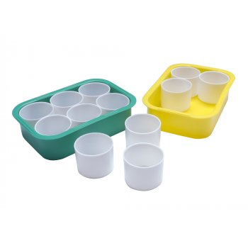 Six Paint Pots With Tray
