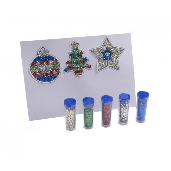 Christmas Glitter Art Hanging Decoration Kit - Makes 10