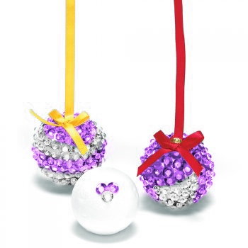 Sequin Bauble Purple Silver Polystyrene Crafts And