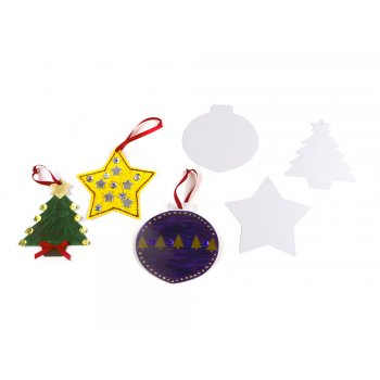 Hanging Card Christmas Decorations - Baubles 10 Pack