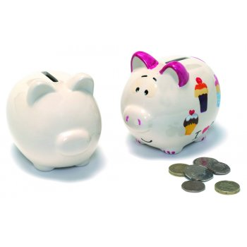 Ceramic Glazed Piggy Coin Bank