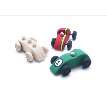 Wooden Racing Cars - 3 Pack