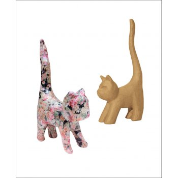 Paper Mache Extra Small Cat With Tail - AP129