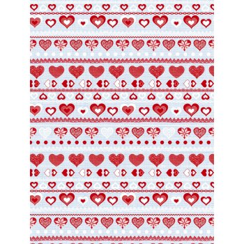 Decopatch Paper 613 - Half Sheet -  Pale Blue & Red Hearts