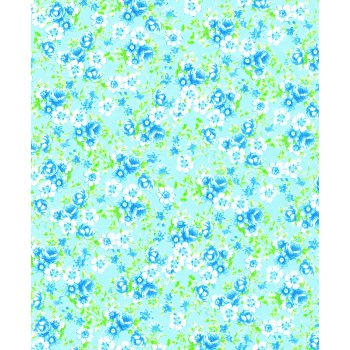 Decopatch Paper 569 - Half Sheet - Pale Blue Flowers