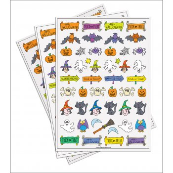 Halloween Paper Stickers - 200 Stickers