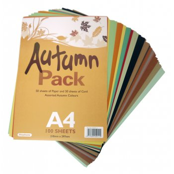 A4 Autumn Card & Paper Pack - 100 Sheets