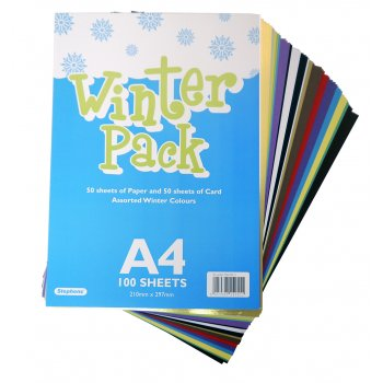 A4 Winter Card & Paper Pack - 100 Sheets