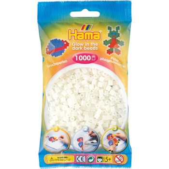 Hama Beads Solid Colours 1000 Pack - 55 Glow In The Dark Green