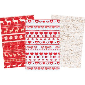 Decopatch Christmas Paper Pack - 3 Half Sheets, Reindeers, Hearts, Plain