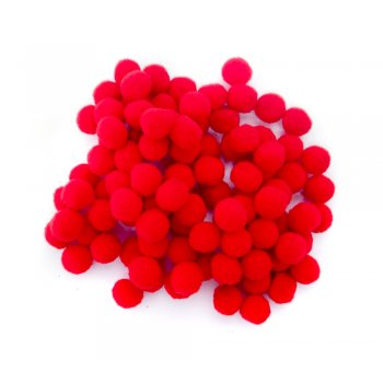 Red Pom Poms 13mm - 100 Pack