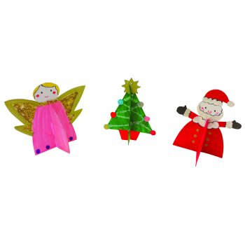 3D Christmas Decorations - 3 Pack Angel, Tree, Star