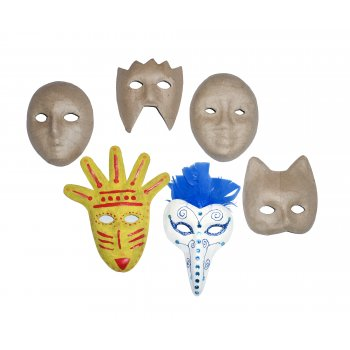 Papier Mache Mask Set - 6 Pack