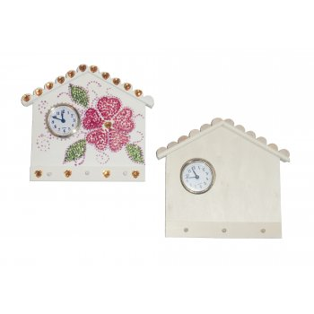 Wooden Key Holder With Clock