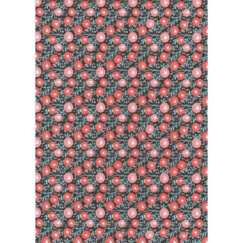 Decopatch Paper 657 - Half Sheet - Tangram Pink Flowers On Navy Background