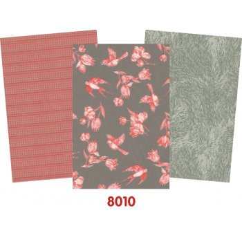 Decopatch Paper Grey Pack - 3 Half Sheets, Floral, Pink and Grey