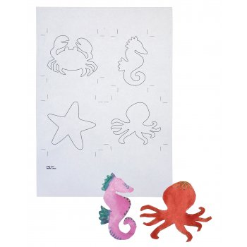 Card Sealife Colour In Cutouts - Pack of 8