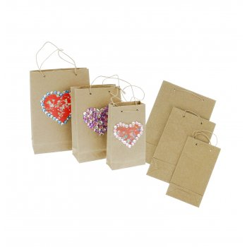 Decorative Collage Kraft Bags - 3 Pack
