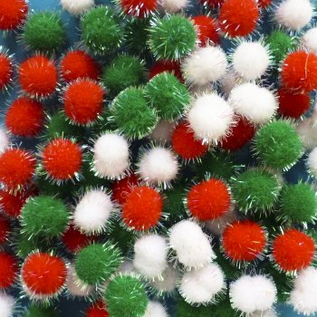 Mini Glitter Pom Poms - Pack of 100