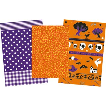 Decopatch Halloween Paper Pack - 3 Half Sheets , Patterend and Plain