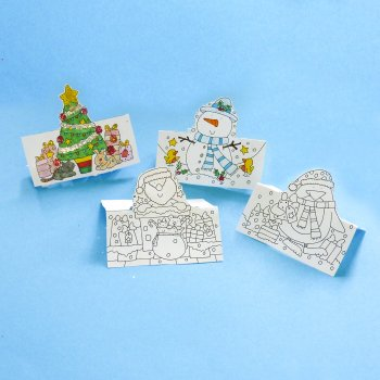 Pop Up Christmas Cards - To colour in (Pack 4)