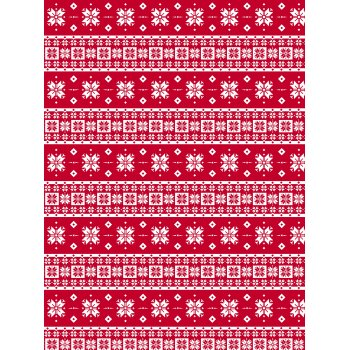 Decopatch Paper 672 - Half Sheet - Red Knitted Snowflakes