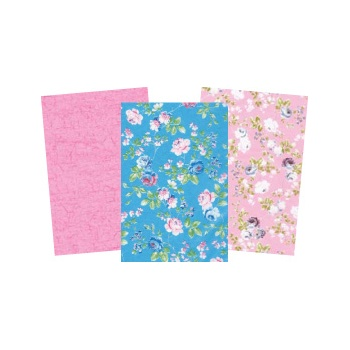 Decopatch Pink Paper Pack - 3 Half Sheets Pink and Blue Floral and Plain