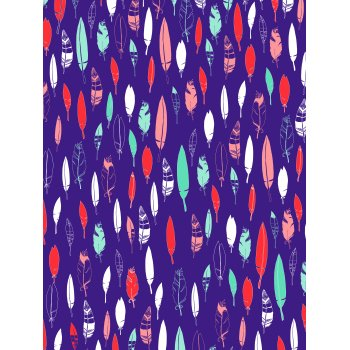Decopatch Paper 694 - half sheet -  Purple Blue & Orange Feathers