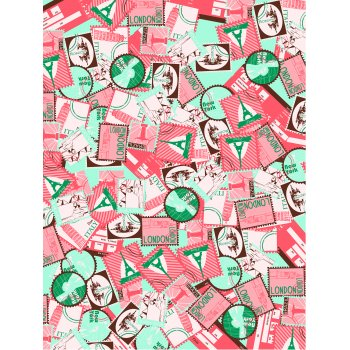 Decopatch Paper 692 - Half Sheet - Pink & Turquoise Stamps