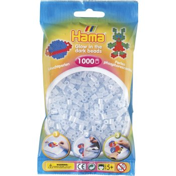 Hama Beads Solid Colours 1000 Pack - 57 Glow In The Dark Blue